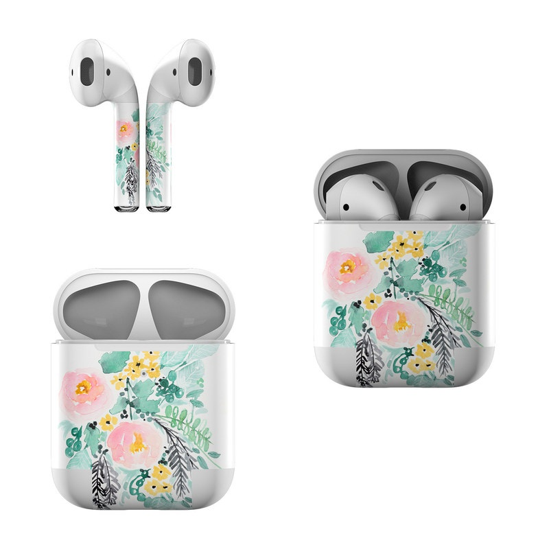 Apple AirPods Skin design of Branch, Clip art, Watercolor paint, Flower, Leaf, Botany, Plant, Illustration, Design, Graphics with green, pink, red, orange, yellow colors