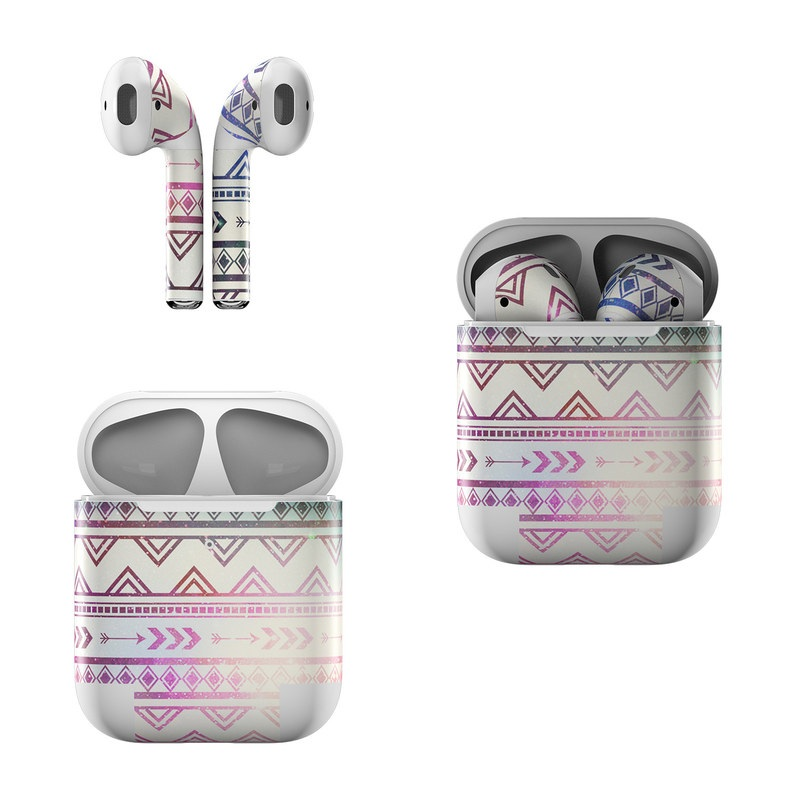 Apple AirPods Skin design of Pattern, Line, Teal, Design, Textile with gray, pink, yellow, blue, black, purple colors