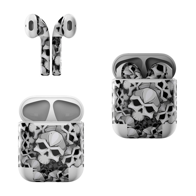 Apple AirPods Skin design of Pattern, Black-and-white, Monochrome, Ball, Football, Monochrome photography, Design, Font, Stock photography, Photography with gray, black colors