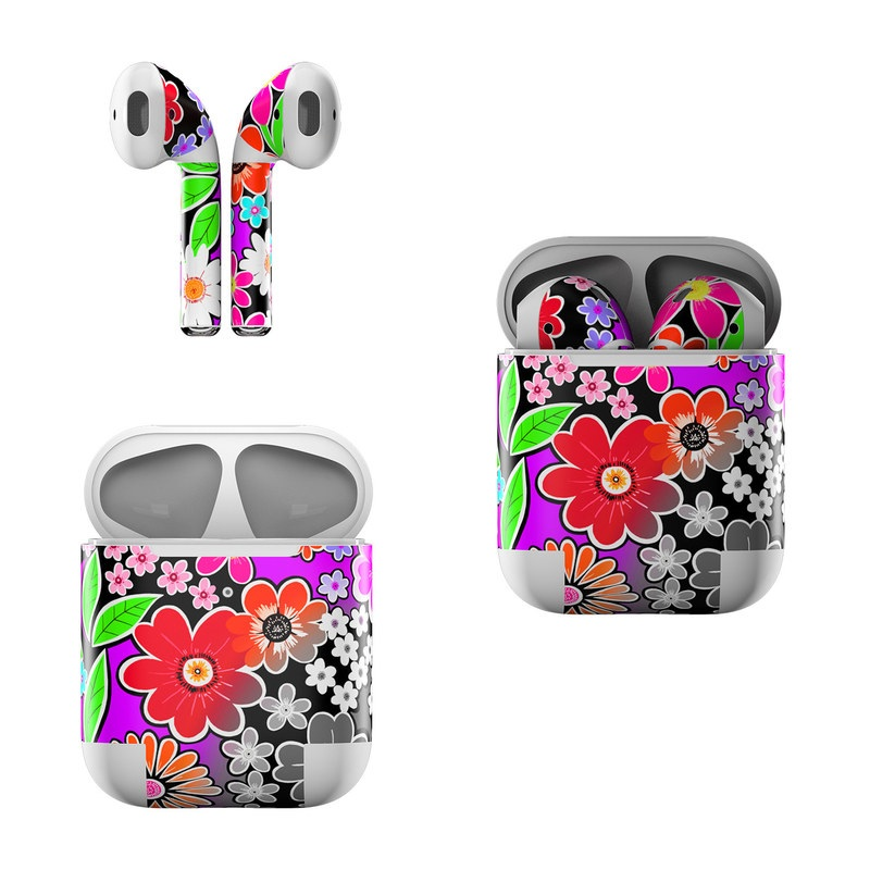Apple AirPods Skin design of Pattern, Floral design, Design, Flower, Plant, Visual arts, Wildflower, Circle, Graphic design with black, gray, purple, white, red, green, orange, yellow colors