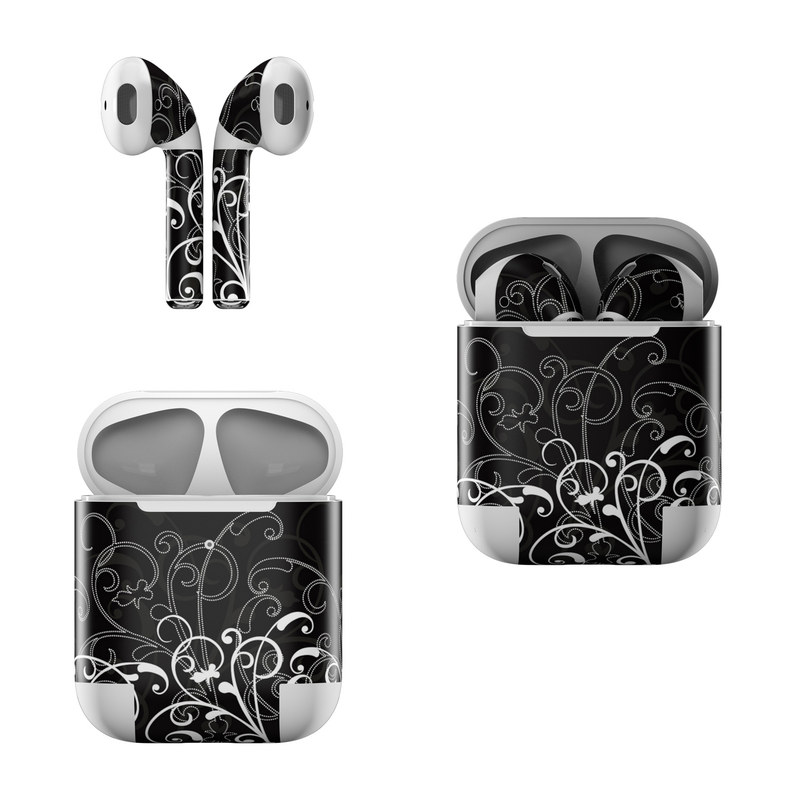 Apple AirPods Skin design of Black, Pattern, Black-and-white, Monochrome photography, Design, Monochrome, Circle, Floral design, Font, Graphic design with black, white colors