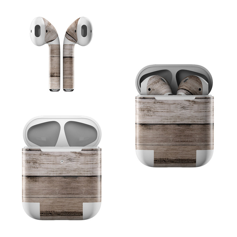 Apple AirPods Skin design of Wood, Plank, Wood stain, Hardwood, Line, Pattern, Floor, Lumber, Wood flooring, Plywood with brown, black colors