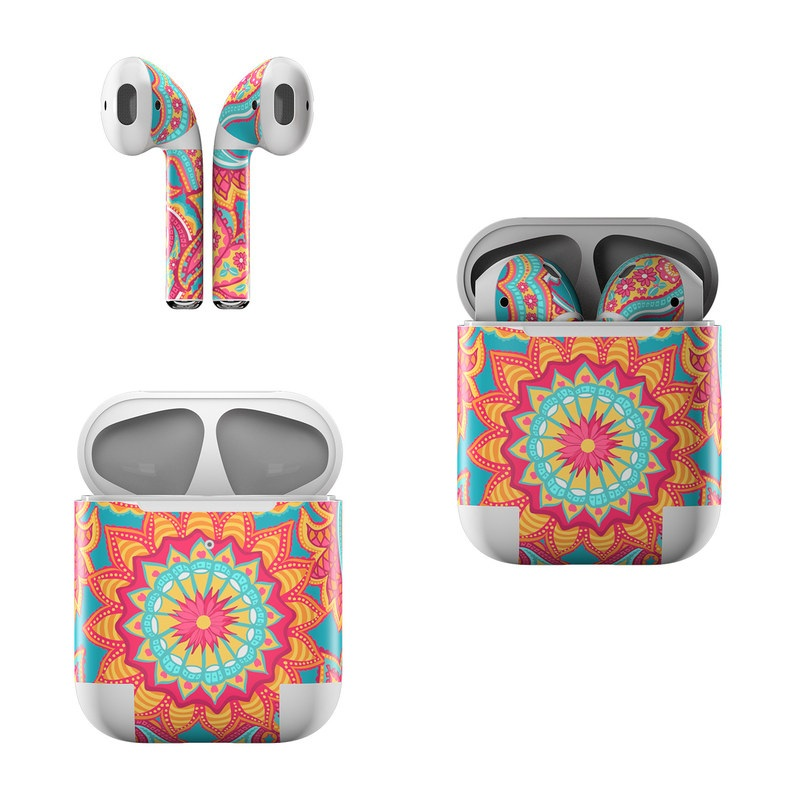 Apple AirPods Skin design of Pattern, Paisley, Motif, Visual arts, Design, Art, Textile, Psychedelic art with orange, yellow, blue, red colors