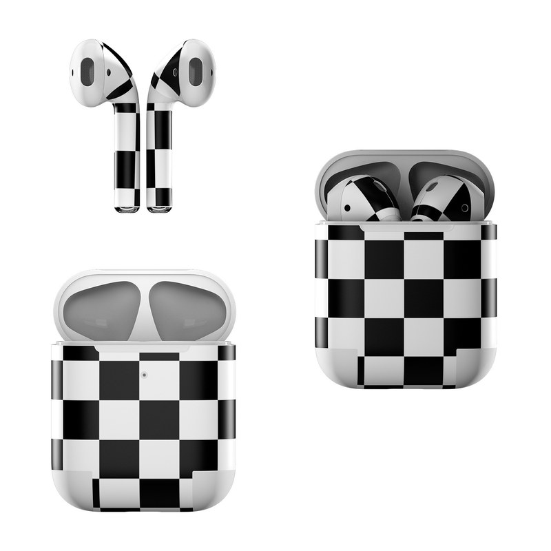 Apple AirPods Skin design of Black, Photograph, Games, Pattern, Indoor games and sports, Black-and-white, Line, Design, Recreation, Square with black, white colors