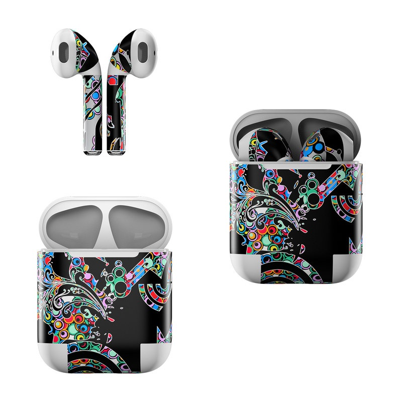 Apple AirPods Skin design of Psychedelic art, Pattern, Visual arts, Graphic design, Art, Design, Motif, Graphics, Paisley, Illustration with black, red, blue, green, red, yellow colors