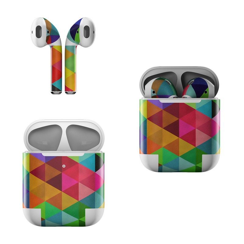 Apple AirPods Skin design of Pattern, Orange, Purple, Violet, Triangle, Magenta, Line, Design, Psychedelic art, Colorfulness with black, red, green, blue colors