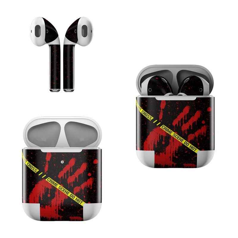Apple AirPods Skin design of Red, Black, Font, Text, Logo, Graphics, Graphic design, Room, Carmine, Fictional character with black, red, green colors
