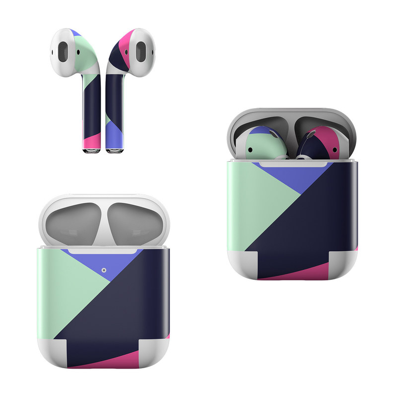 Apple AirPods Skin design of Purple, Violet, Line, Magenta, Graphic design, Triangle, Pattern, Design, Material property, Font with black, blue, green, pink colors