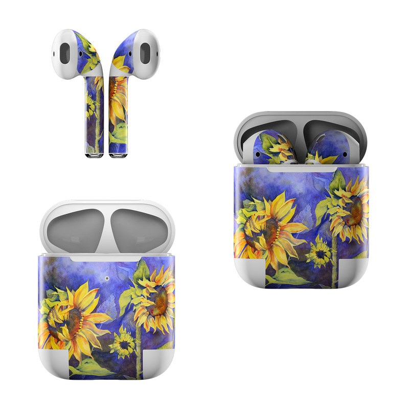 Apple AirPods Skin design of Flower, Sunflower, Painting, sunflower, Watercolor paint, Plant, Flowering plant, Yellow, Acrylic paint, Still life with green, black, blue, gray, red, orange colors