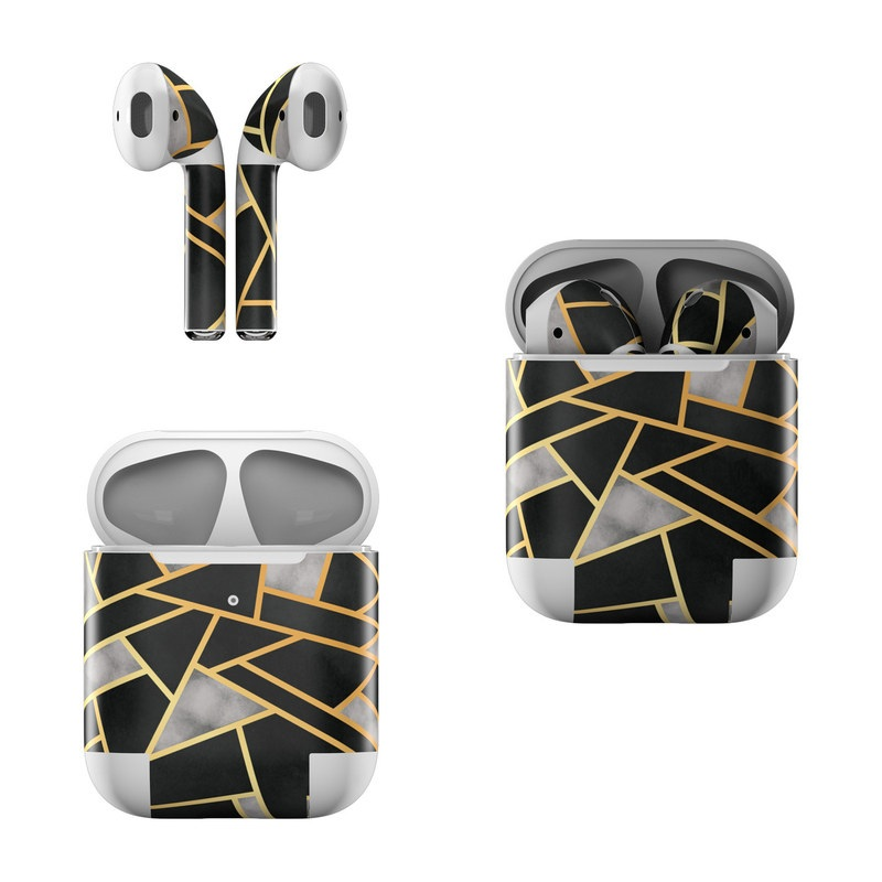Apple AirPods Skin design of Pattern, Triangle, Yellow, Line, Tile, Floor, Design, Symmetry, Architecture, Flooring with black, gray, yellow colors