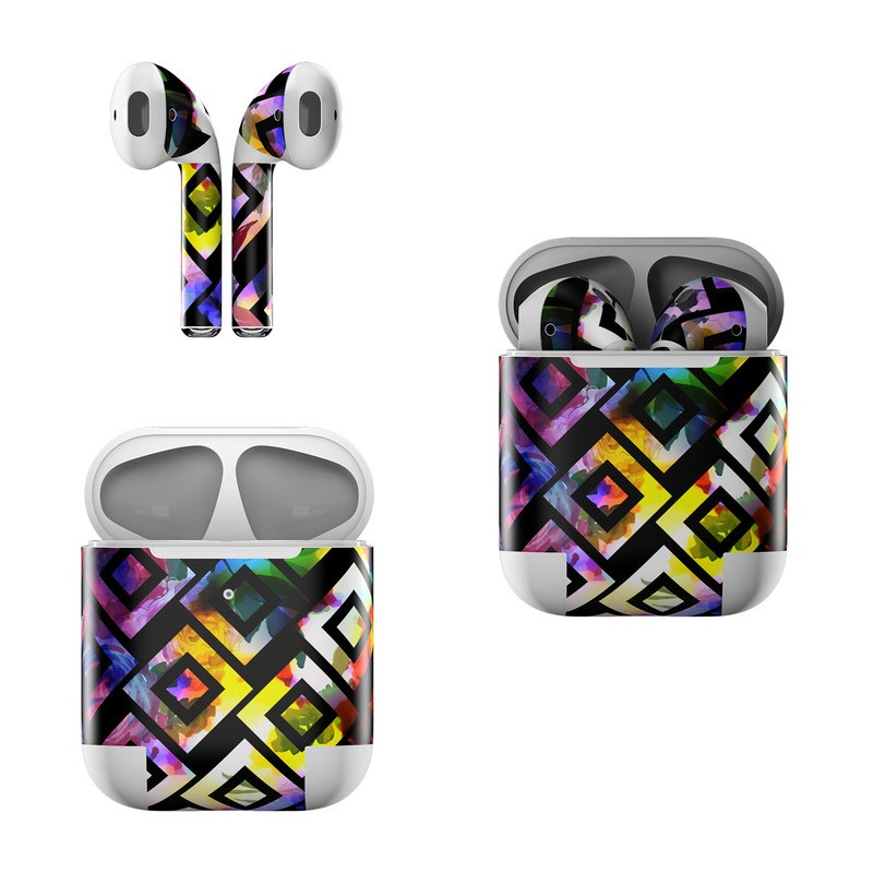 Apple AirPods Skin design of Pattern, Purple, Violet, Line, Design, Symmetry, Graphic design, Square, Colorfulness with black, white, purple, pink, red, yellow, green, blue colors