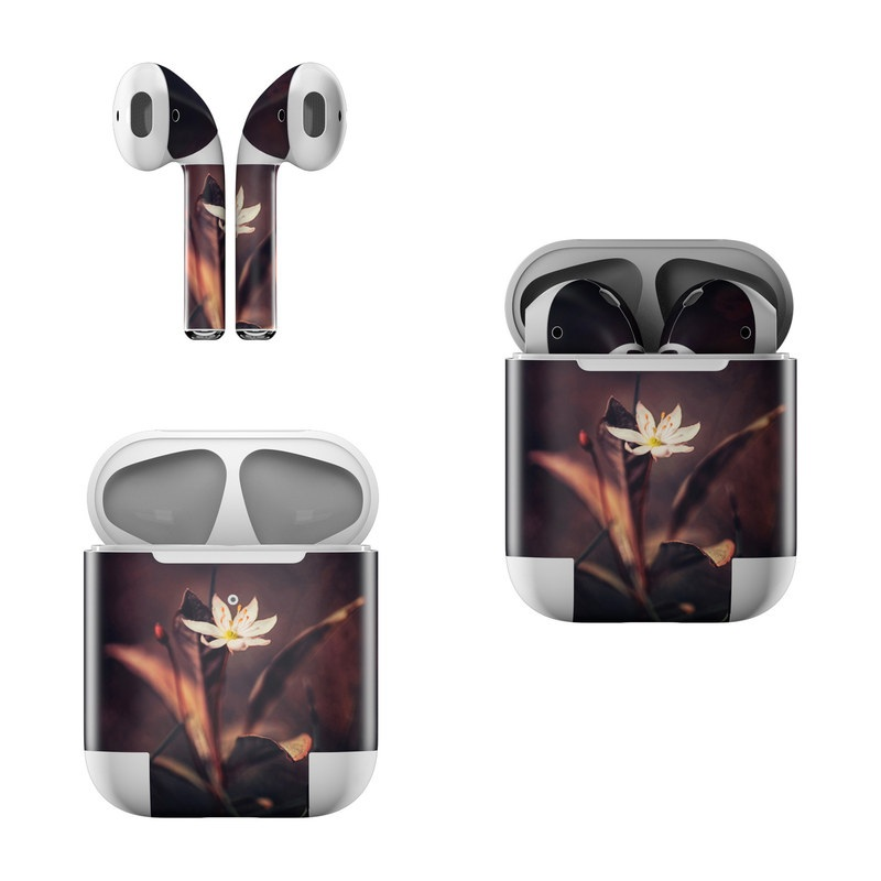 Apple AirPods Skin design of Flower, Yellow, Light, Plant, Sky, Still life photography, Wildflower, Petal, Darkness, Spring with black, red colors