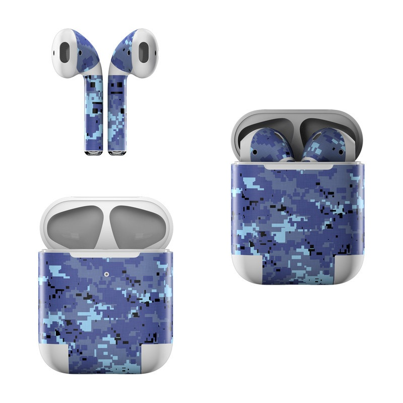 Apple AirPods Skin design of Blue, Purple, Pattern, Lavender, Violet, Design with blue, gray, black colors