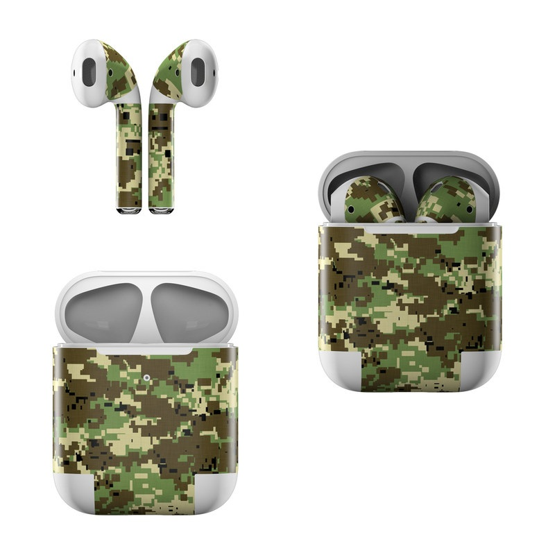 Apple AirPods Skin design of Military camouflage, Pattern, Camouflage, Green, Uniform, Clothing, Design, Military uniform with black, gray, green colors