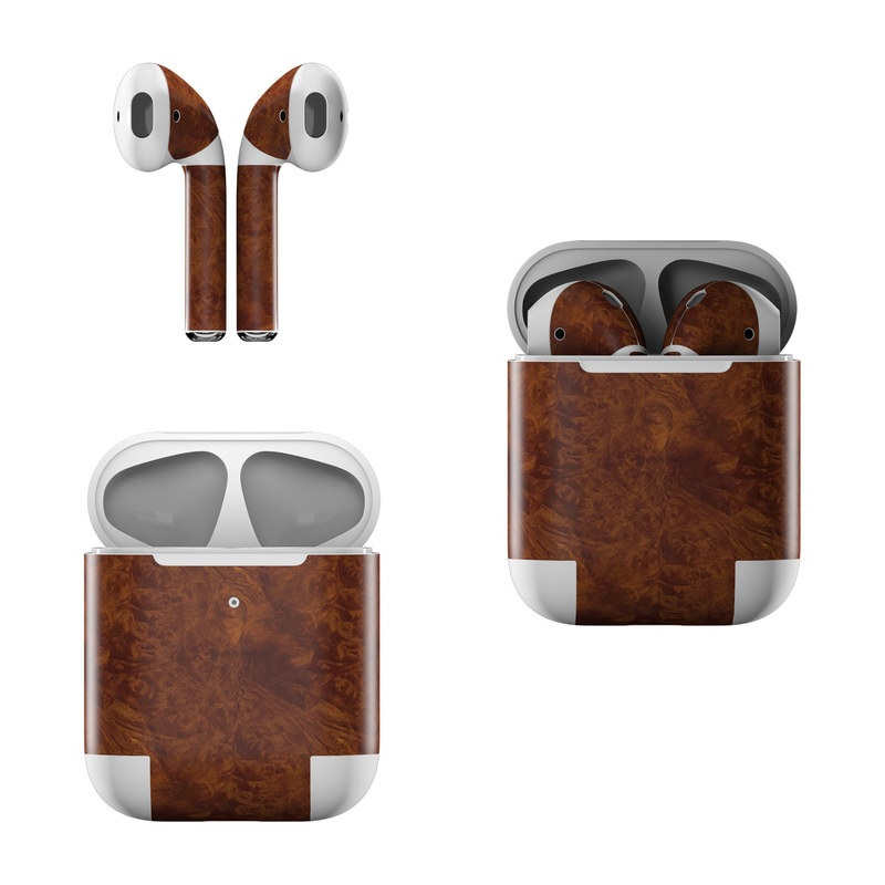 Dark Burlwood Apple AirPods Skin