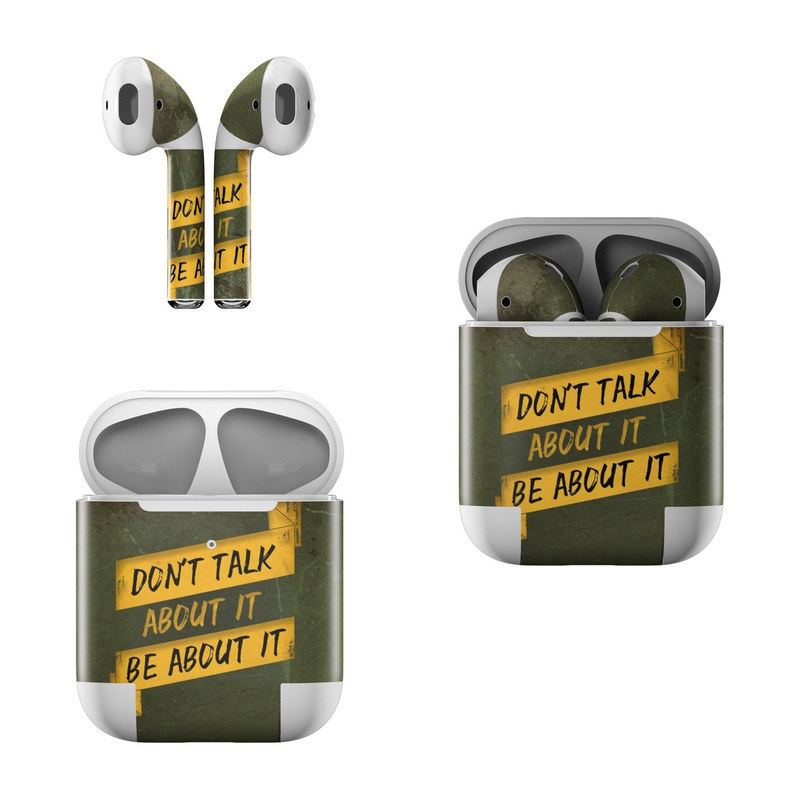 Apple AirPods Skin design of Text, Font, Yellow, Signage, Wall, Sign, Street sign, Art with green, black, yellow colors
