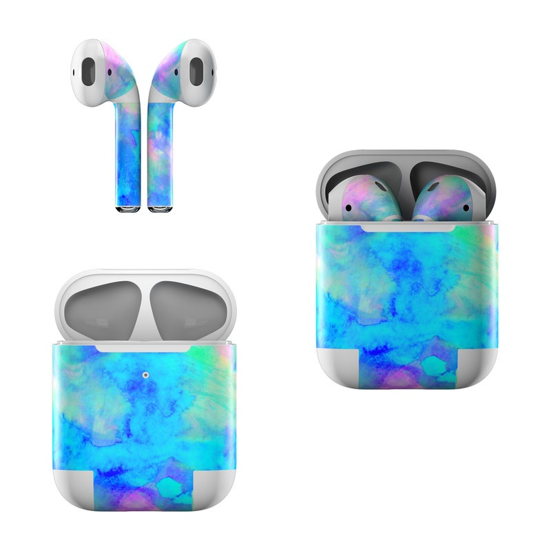 Apple AirPods Skin design of Blue, Turquoise, Aqua, Pattern, Dye, Design, Sky, Electric blue, Art, Watercolor paint with blue, purple colors