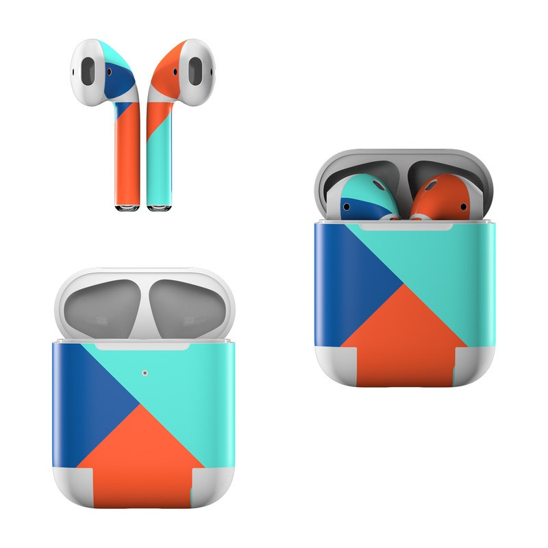Apple AirPods Skin design of Blue, Colorfulness, Turquoise, Line, Azure, Triangle, Pattern, Graphic design, Magenta with blue, pink, orange, red colors