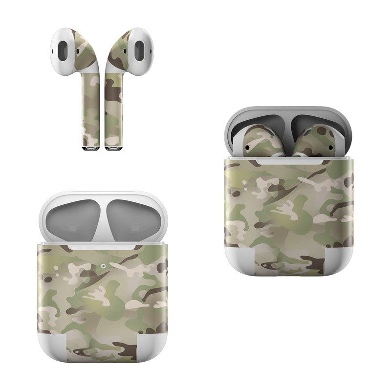 Apple AirPods Skin design of Military camouflage, Camouflage, Pattern, Clothing, Uniform, Design, Military uniform, Bed sheet with gray, green, black, red colors