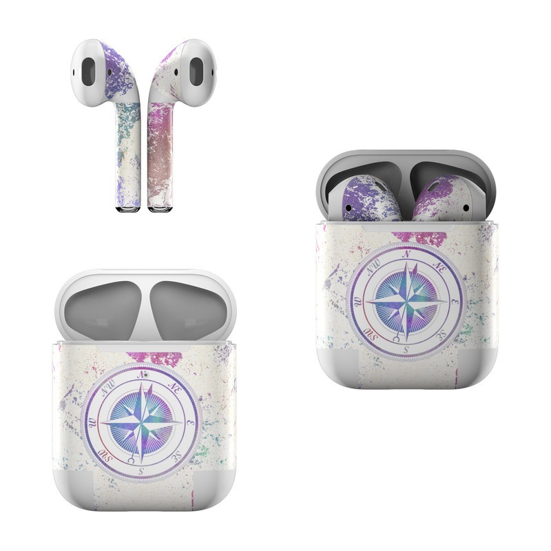 Apple AirPods Skin design of Clock, Circle, Compass, Graphics, Pattern, Illustration, Interior design with gray, white, yellow, pink, purple, blue colors