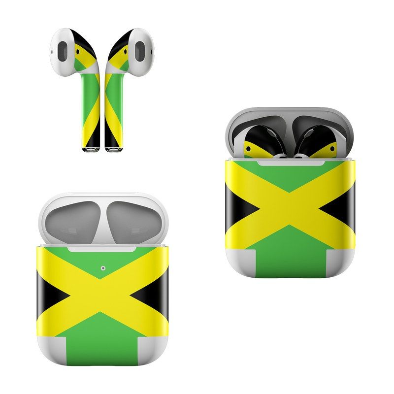 Apple AirPods Skin design of Green, Flag, Yellow, Macro photography, Graphics, Graphic design with black, green, yellow colors