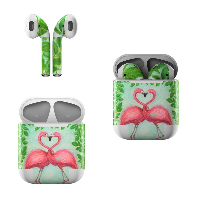 Apple AirPods Skin design of Flamingo, Greater flamingo, Bird, Water bird, Pink, Illustration, Watercolor paint, Organism, Drawing, Stork with pink, blue, green colors