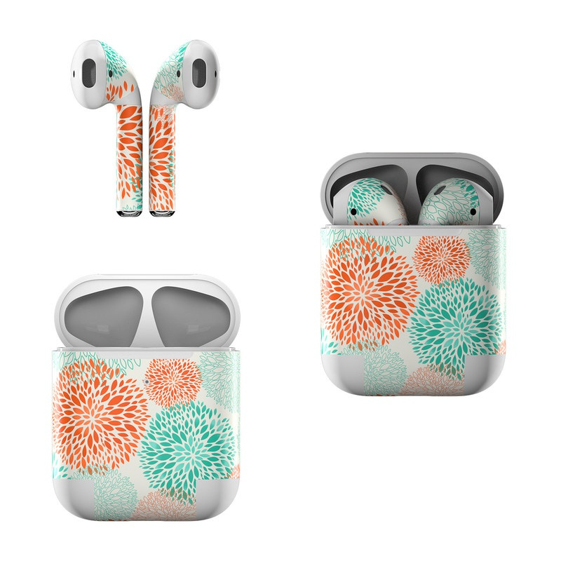 Apple AirPods Skin design of Pattern, Turquoise, Aqua, Orange, Teal, Line, Design, Circle, Textile, Dahlia with gray, pink, white, blue, green colors