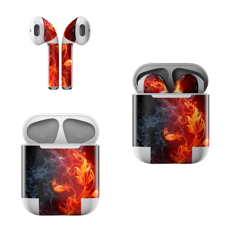 Apple AirPods Skin design of Flame, Fire, Heat, Red, Orange, Fractal art, Graphic design, Geological phenomenon, Design, Organism with black, red, orange colors