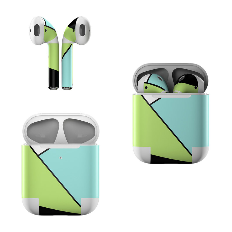 Apple AirPods Skin design of Green, Line, Blue, Triangle, Design, Parallel, Pattern, Graphic design, Slope with white, black, green, blue colors