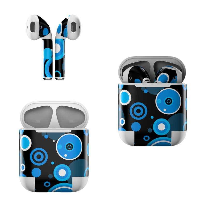 Apple AirPods Skin design of Blue, Circle, Pattern, Aqua, Turquoise, Design, Font, Electric blue, Organism, Graphic design with black, blue, white, gray colors