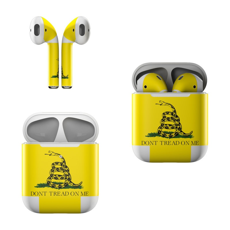 Apple AirPods Skin design of Yellow, Font, Logo, Graphics, Illustration with orange, black, green colors