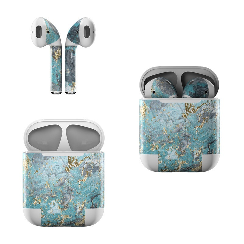 Apple AirPods Skin design of Blue, Turquoise, Green, Aqua, Teal, Geology, Rock, Painting, Pattern with black, white, gray, green, blue colors