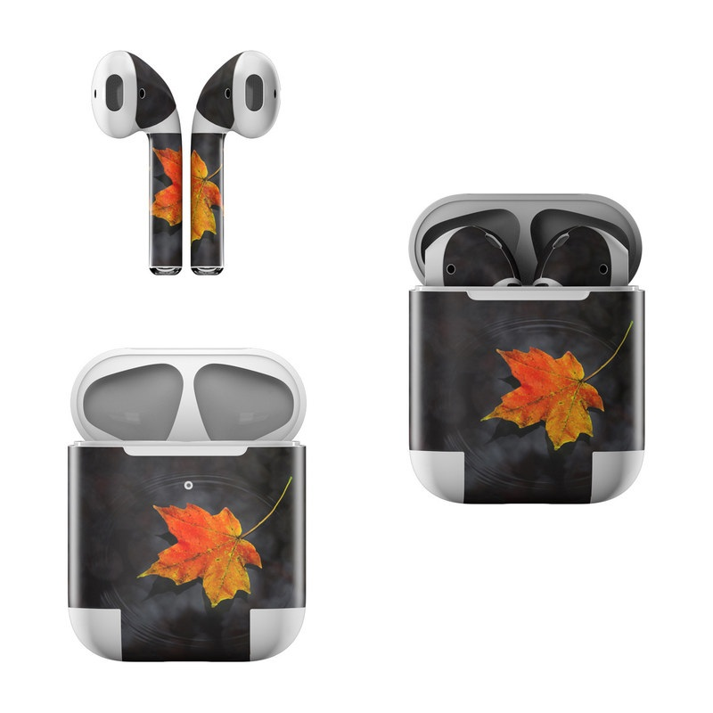 Apple AirPods Skin design of Leaf, Maple leaf, Tree, Black maple, Sky, Yellow, Deciduous, Orange, Autumn, Red with black, red, green colors