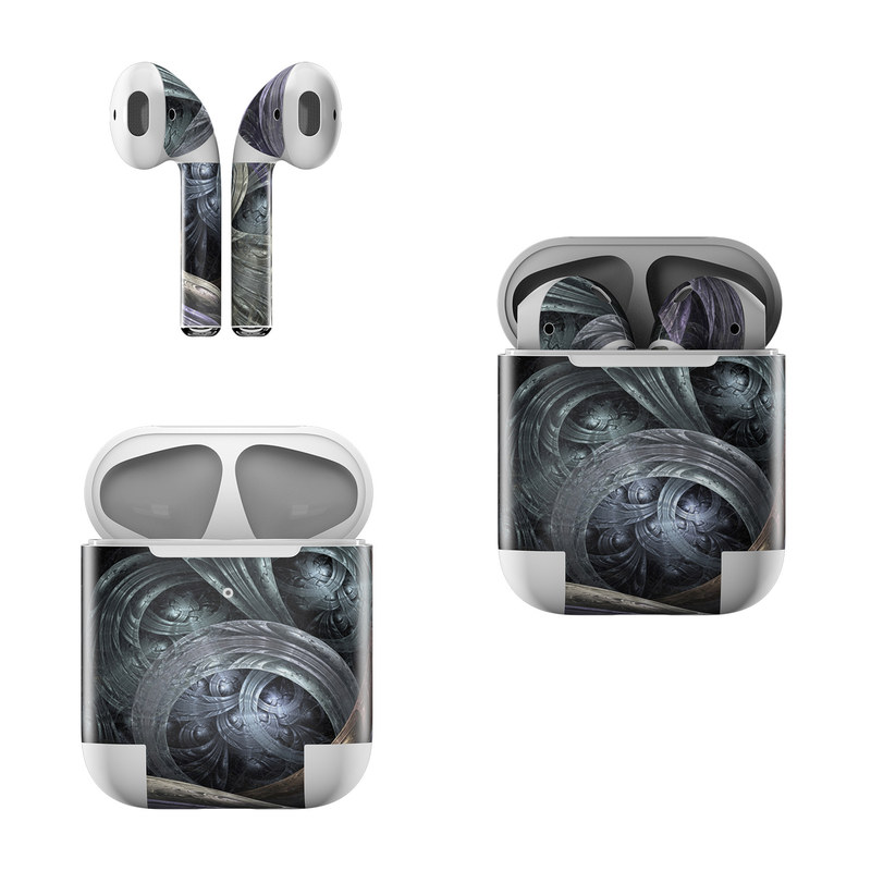 Apple AirPods Skin design of Fractal art, Graphic design, Art, Cg artwork, Darkness, Circle, Pattern, Illustration, Graphics, Metal with black, gray, blue colors