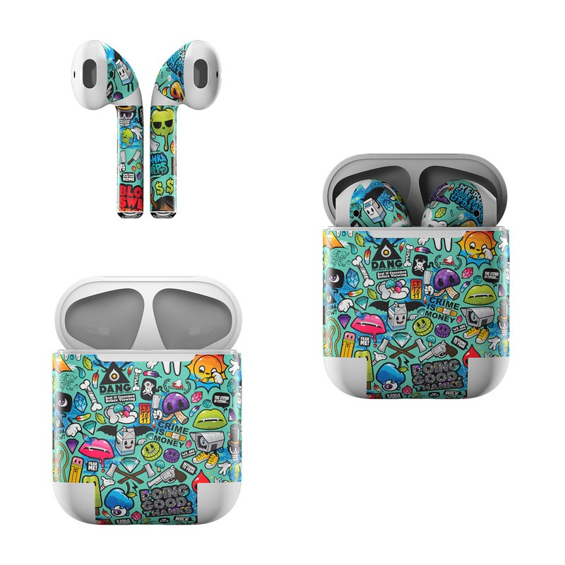 Apple AirPods Skin design of Cartoon, Art, Pattern, Design, Illustration, Visual arts, Doodle, Psychedelic art with black, blue, gray, red, green colors