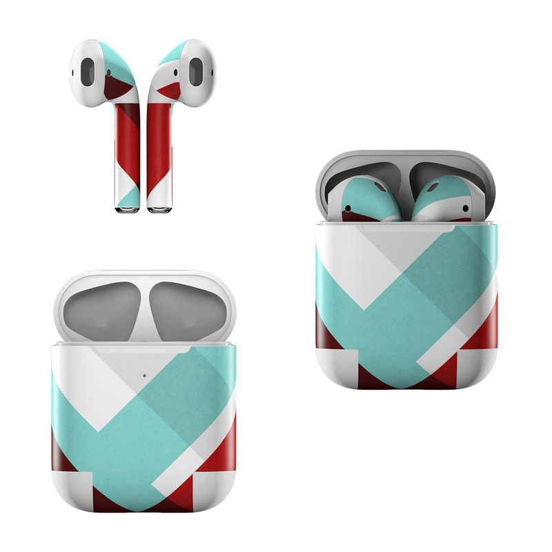 Apple AirPods Skin design of Turquoise, Line, Pattern, Teal, Graphic design, Design, Flag, Font, Graphics, Parallel with red, blue, gray, white colors
