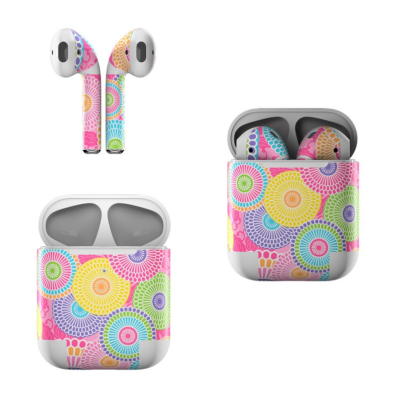 Apple AirPods Skin design of Pattern, Circle, Textile, Design, Visual arts, Wrapping paper with gray, pink, purple, orange, blue, green colors