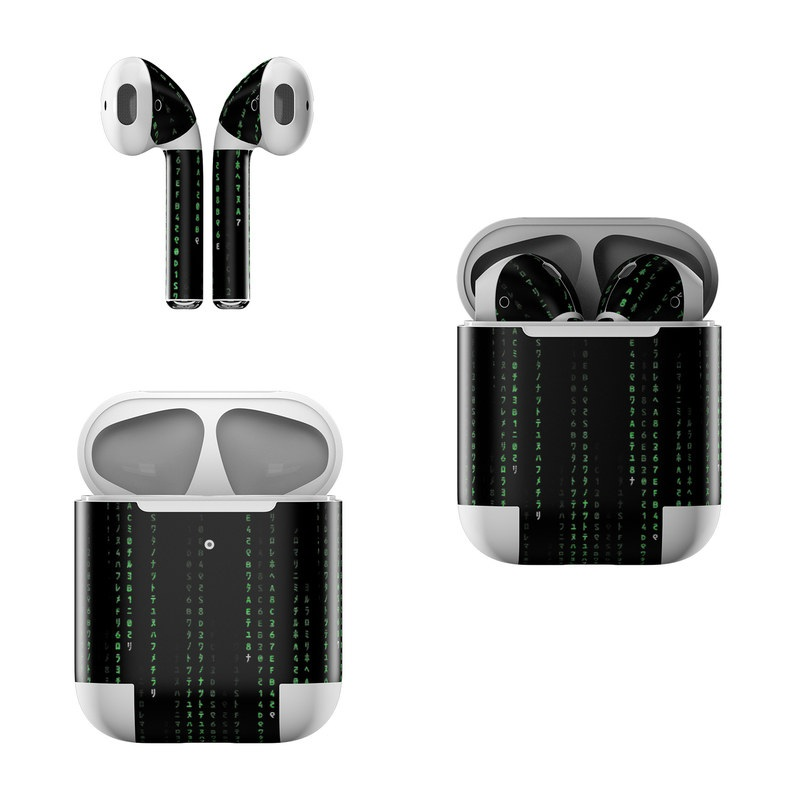 Apple AirPods Skin design of Green, Black, Pattern, Symmetry with black colors
