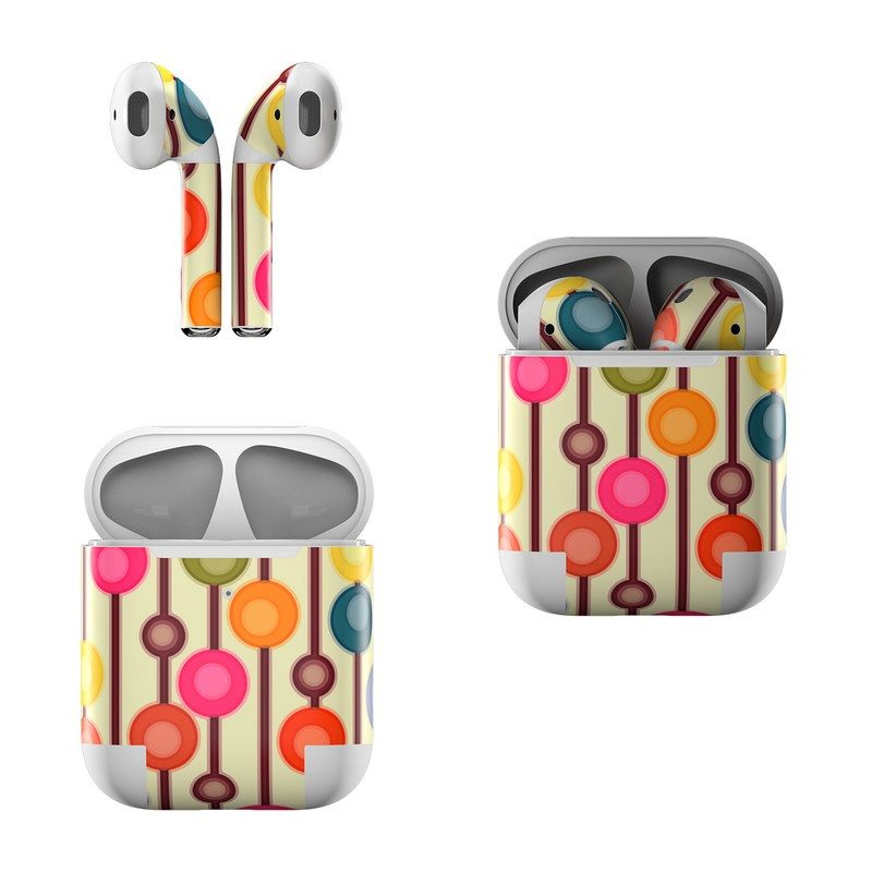 Apple AirPods Skin design of Pattern, Line, Circle, Design, Visual arts, Clip art, Graphics, Art with yellow, gray, red, black, pink colors