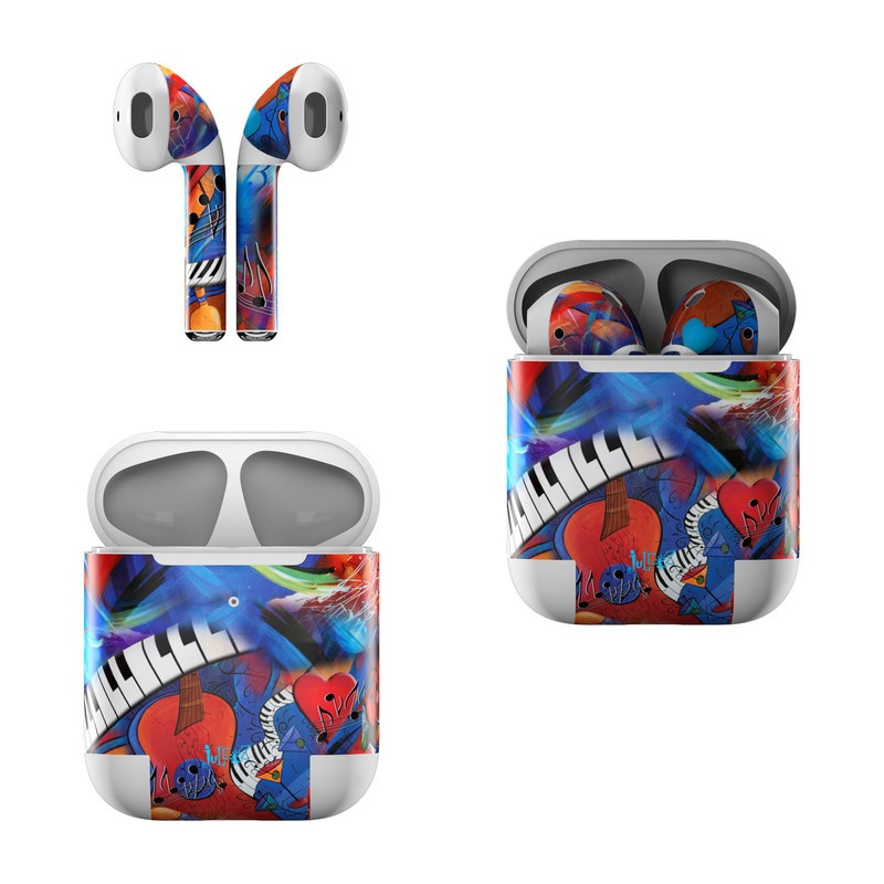 Apple AirPods Skin design of Art, Graffiti, Mural, Modern art, Street art, Psychedelic art, Fictional character, Graphic design, Visual arts, Animated cartoon with black, red, blue, gray, green colors