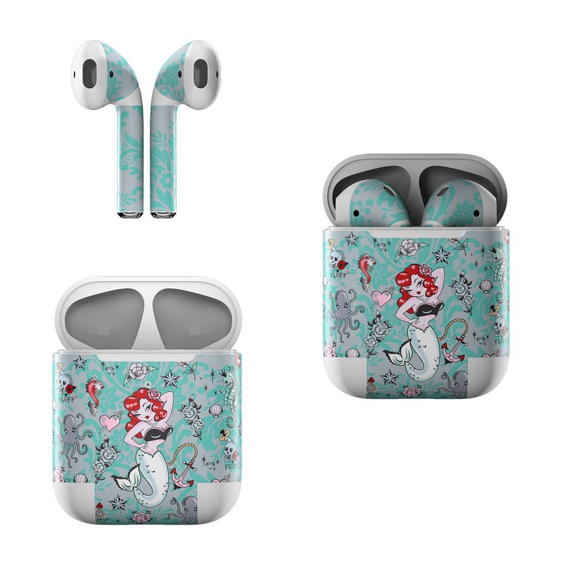 Apple AirPods Skin design of Mermaid, Illustration, Fictional character, Organism, Art, Pattern, Style with gray, blue, black, red, white, pink colors