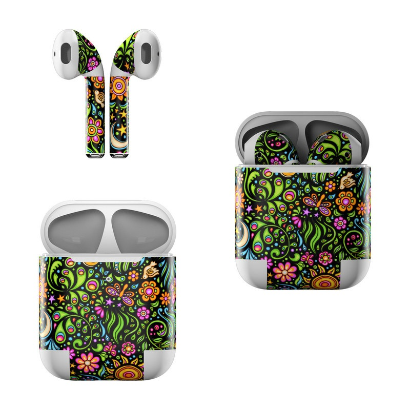 Apple AirPods Skin design of Pattern, Psychedelic art, Visual arts, Art, Design, Motif, Organism, Circle, Textile, Plant with black, red, green, blue, purple colors