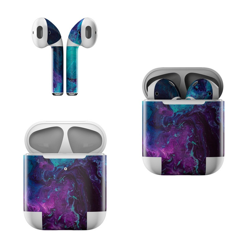 Apple AirPods Skin design of Blue, Purple, Violet, Water, Turquoise, Aqua, Pink, Magenta, Teal, Electric blue with blue, purple, black colors
