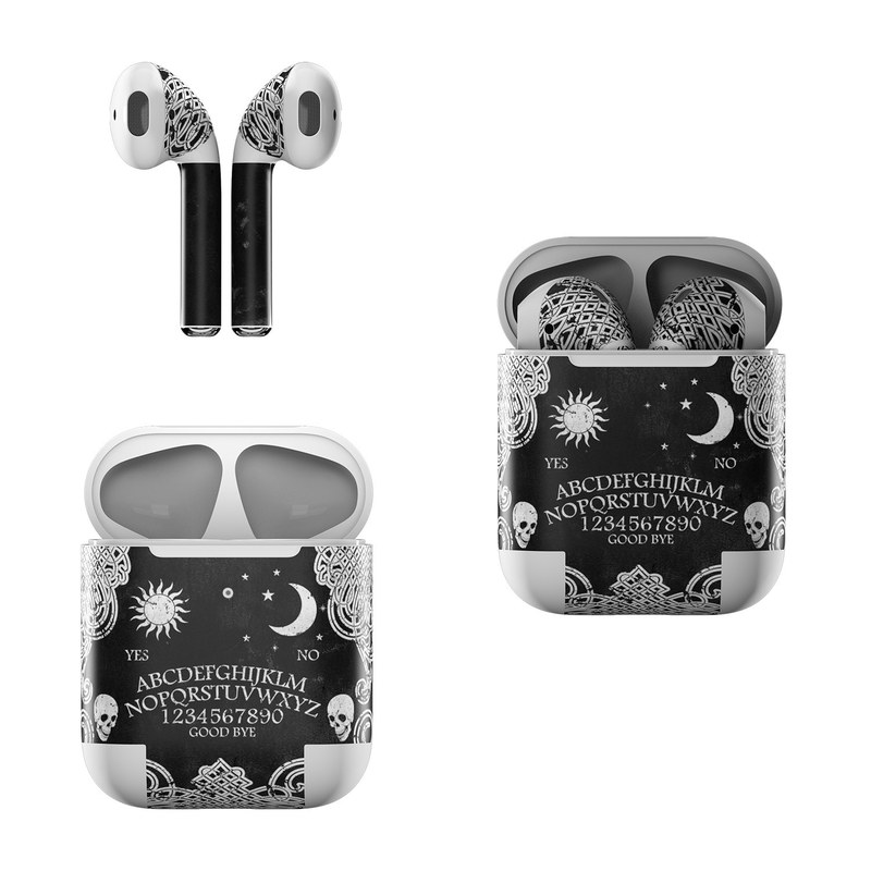 Apple AirPods Skin design of Text, Font, Pattern, Design, Illustration, Headpiece, Tiara, Black-and-white, Calligraphy, Hair accessory with black, white, gray colors