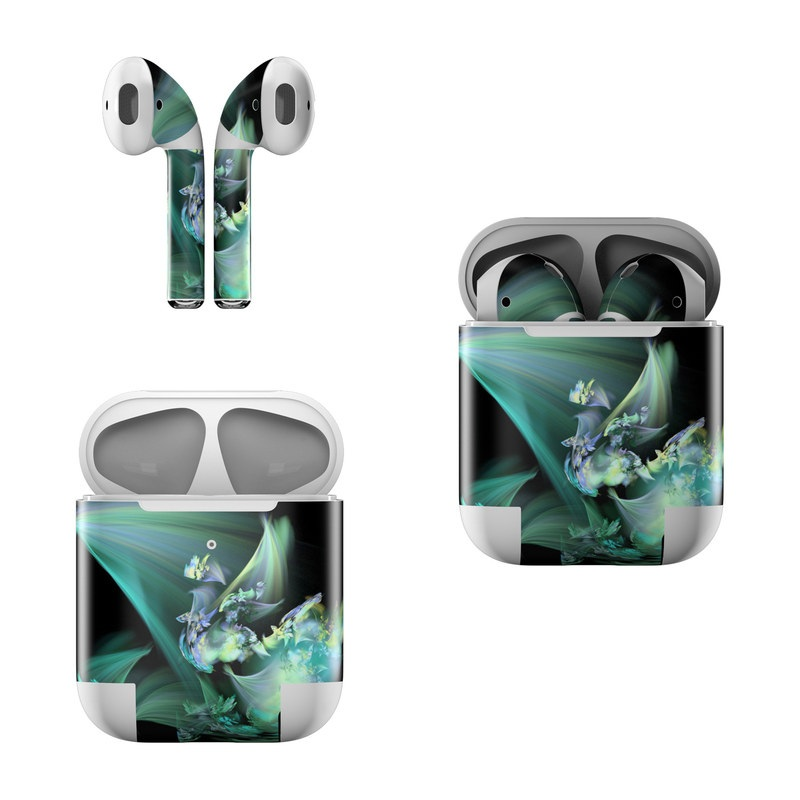 Apple AirPods Skin design of Fractal art, Cg artwork, Fictional character, Organism, Graphic design, Graphics, Art, Photography, Mythical creature, Dragon with black, blue, gray, green colors