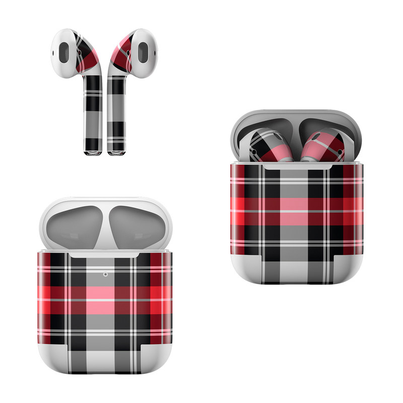 Apple AirPods Skin design of Plaid, Tartan, Pattern, Red, Textile, Design, Line, Pink, Magenta, Square with black, gray, pink, red, white colors