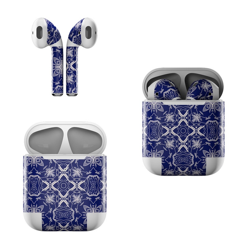 Apple AirPods Skin design of Blue, Pattern, Cobalt blue, Electric blue, Design, Majorelle blue, Symmetry, Textile, Visual arts with blue, white colors