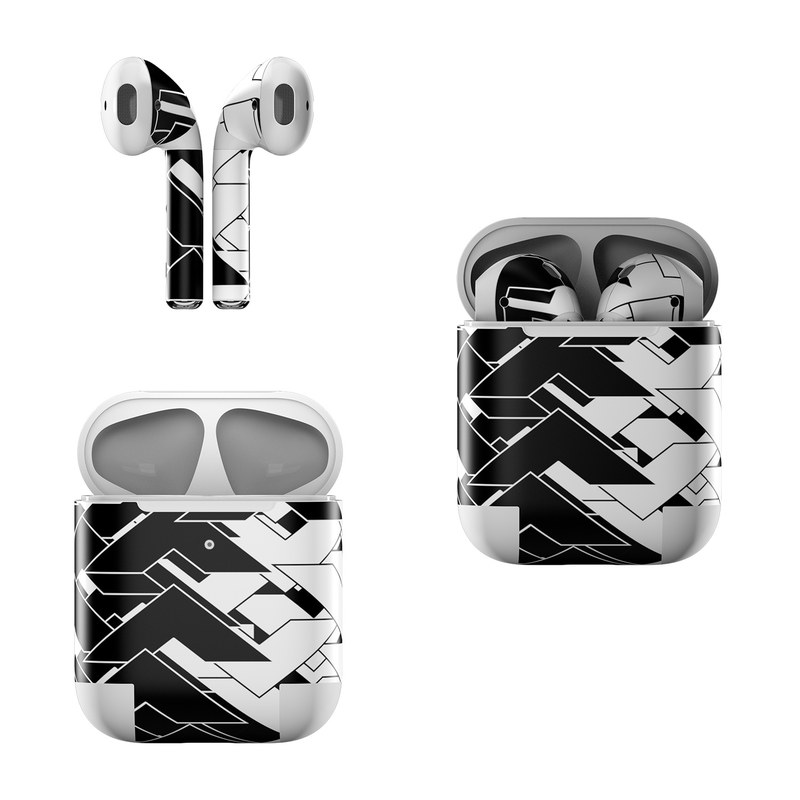 Apple AirPods Skin design of Pattern, Black, Black-and-white, Monochrome, Monochrome photography, Line, Design, Parallel, Font with black, white colors