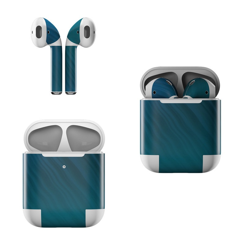 Apple AirPods Skin design of Blue, Aqua, Turquoise, Green, Azure, Teal, Electric blue, Pattern, Sky, Atmosphere with black, blue colors