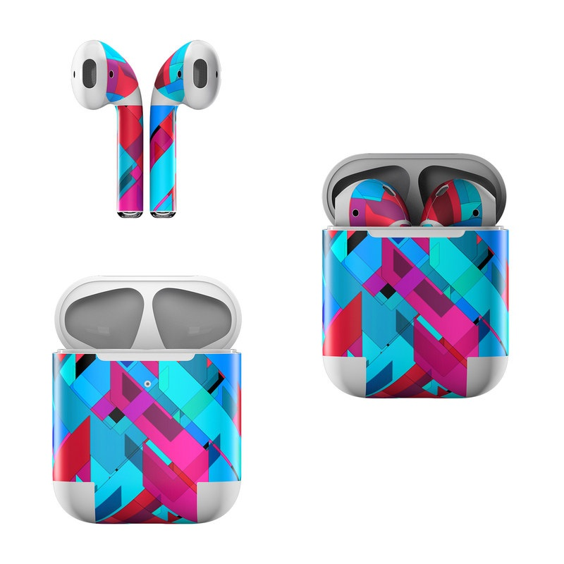 Apple AirPods Skin design of Pattern, Turquoise, Line, Teal, Magenta, Design, Textile, Symmetry, Colorfulness with blue, red, purple, black colors